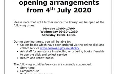 St Agnes Library – New Opening Arrangements From 4th July 2020!